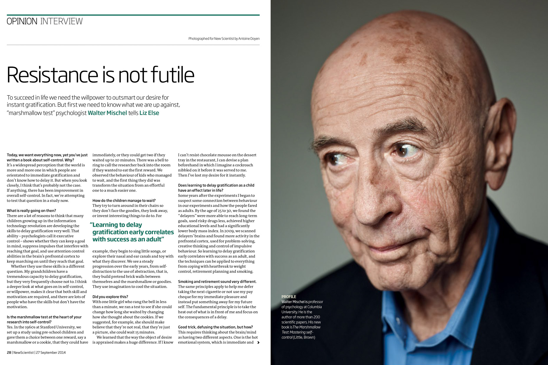 Walter Mischel New Scientist